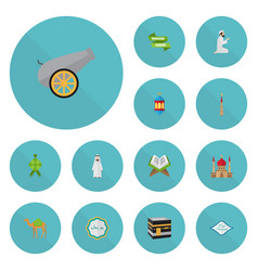 Flat icons mosque minaret holy book and other vector