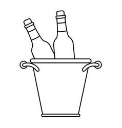 Glass bottles wine bucket thin line vector