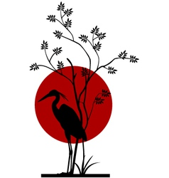 heron silhouette with giant moon background vector image vector image