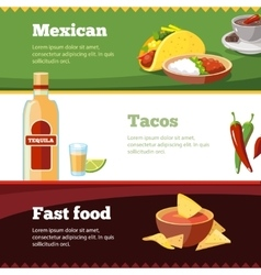 Horisontal banners set with mexican vector