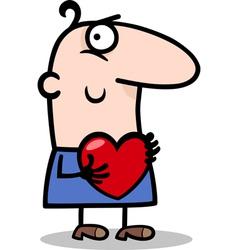 man with heart cartoon vector image