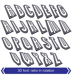 Outlined rotated font monochrome lined letters set vector
