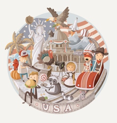 Plate design with items from usa vector