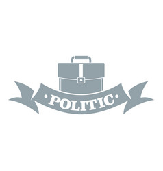 Politic logo simple gray style vector