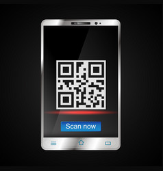 Scanning of qr code on the smartphone vector