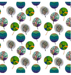 seamless pattern with colorful trees vector image