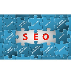 SEO puzzle background vector image vector image