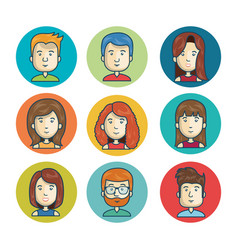 Set faces character online community isolated vector