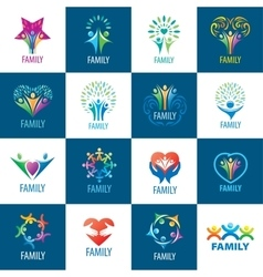 set logos family vector image