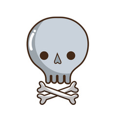 skull with bones to danger and warning symbol vector image vector image
