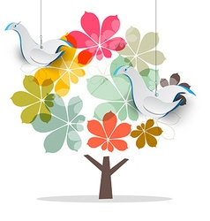 Tree with dove birds abstract chestnut tree with vector