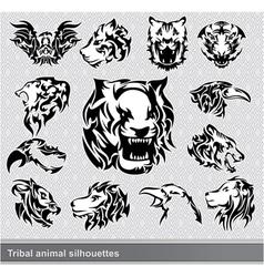 tribal animal silhouettes set vector image vector image