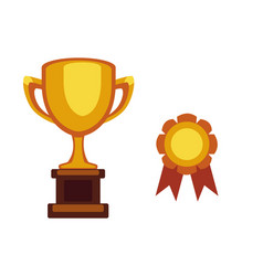 trophy champion cup flat icon winner award vector image vector image