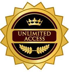 Unlimited access gold icon vector