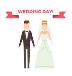 Wedding couple cartoon style vector image