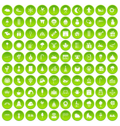 100 childrens parties icons set green circle vector image vector image
