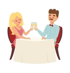 Dating couple in restaurant vector