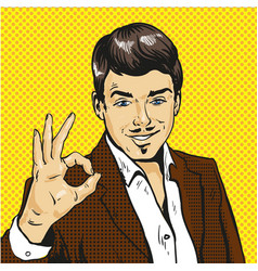 Man showing ok sign pop art comic vector