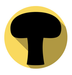 Mushroom simple sign  flat black icon with vector