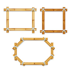 Wooden realistic bamboo frames vector