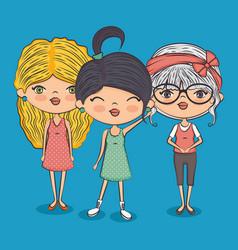Stylish teenager girls vector