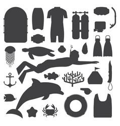 Skin diving and snorkeling silhouette set vector