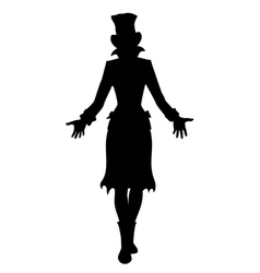 Hat woman silhouette vector image