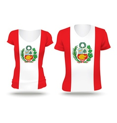 Flag shirt design of peru vector
