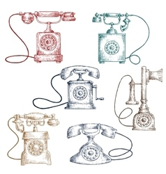 Vintage corded telephones sketches vector