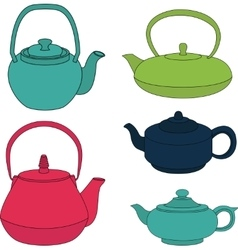 Set of color silhouette teapot icons vector