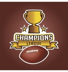American football cup trophy and ball ribbons vector image