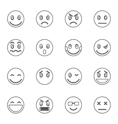 Emoticon icons set thin line style vector