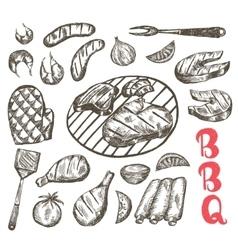 Grill sketch food set bbq food is sausages etc vector