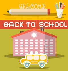 Back to School Title with Yellow Bus - School vector image