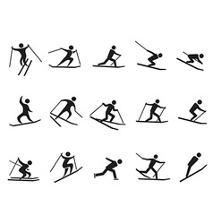 Black skiing stick figure icons set vector