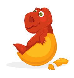 Bright red baby dinosaur inside yellow egg shell vector