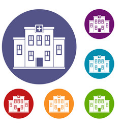 City hospital building icons set vector