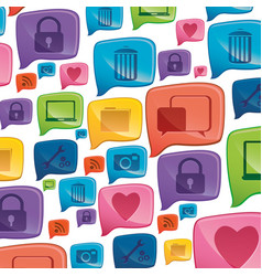 Colorful pattern formed by dialogue social icons vector