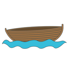 Colorful silhouette wooden fishing boat in river vector