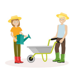 couple of gardeners man with wheelbarrow a woman vector image vector image