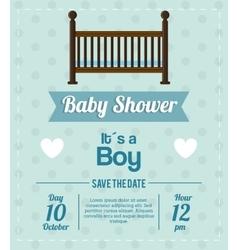Cradle of baby shower card design vector