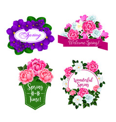 Flowers bouquets for spring greeting quotes vector