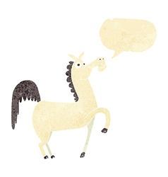 Funny cartoon horse with speech bubble vector