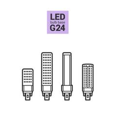 Led light g24 bulbs outline icon set vector