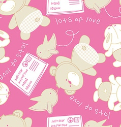 Lots of love bear and bird seamless pattern vector