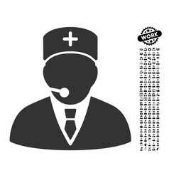 Medical manager icon with job bonus vector