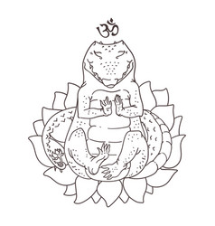 Meditating alligator drawing vector
