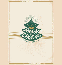 merry christmas retro card design vector image