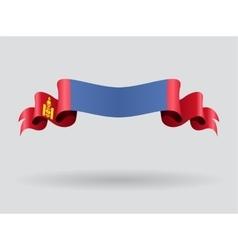Mongolian wavy flag vector image vector image