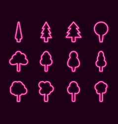 Neon trees set glowing sign vector